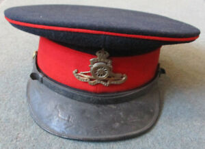 Old Royal Artillery peaked cap with King's Crown brass badge