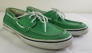 Sperry Top Sider Green Canvas Casual Loafers Men's 12M 2-eye Shoes