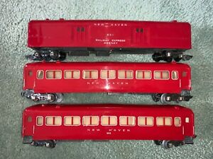 American Flyer 3 Red New Haven Style Passenger cars #651, 650, 650 link 1940/50s