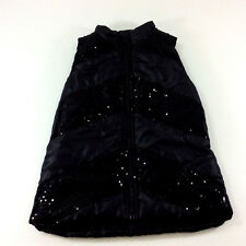 Girls Black Sparkle Puffer Vest Quilted Silver Sleeveless  Faded Glory Size 6 6X