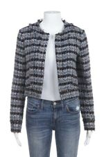 BEULAH London Tweed Blazer Size 8 Blue Beige Twill jacket Open Boucle