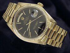 Men Rolex Day-Date President 18k Yellow Gold Watch Black Dial Fluted Bezel 18038