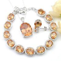 Holiday Gift Oval Morganite Silver Bracelets Pendants Stud Earrings Jewelry Sets