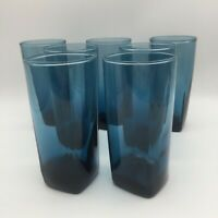 "SET OF 7 ANCHOR HOCKING RIO BEVERAGE GLASSES IN COASTAL BLUE 6 1/8"" TUMBLERS"
