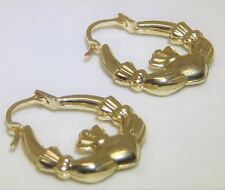 9ct Yellow Gold Claddagh Creole Hoop Earrings Love Loyalty Friendship 9 Carat