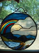 STAINED GLASS HANGING WINDOW STAINED GLASS SUNCATCHER RAINBOW SUNSET MOUNTAIN