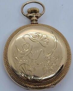 Antique 1904 ELGIN Ladies Gold Filled G.F. Victorian Full Hunter Pocket Watch 6s