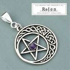 Large Celtic Knot Crescent Moon Pentagram & Amethyst Bead Pendant Pagan Wiccan