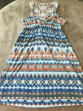 Boho Dress Short Sleeve Aztec Print Multicolor Medium Women's Pink Republic
