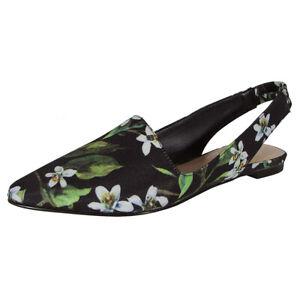 Franco Sarto Womens Scarlett Slingback Flat Shoes, Black Floral, US 4