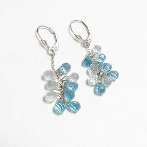 Estate 14K White Gold Natural Blue Briolette Cut Topaz Dangle Earrings 9.00 Cts
