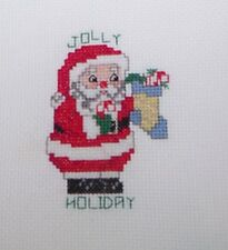 COMPLETED JOLLY HOLIDAY SANTA Counted Cross Stitch Card Vintage Titan Design