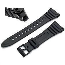 Watch Band Strap to fit Casio Model W96 W96H W-96H, Flexible Black Resin 577EA1