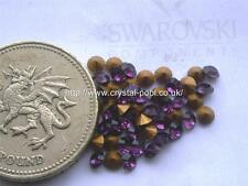 48 x Swarovski 10ss / 22pp Amethyst gold-foiled #1012 chatons