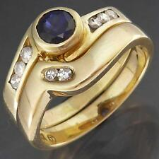 Matched Pair of Solid 9k Yellow GOLD BLUE SAPPHIRE & 8 DIAMOND RING SET Sz N1/2