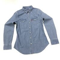 Levi's Women's Western Denim Shirt In Mid Blue Size XS