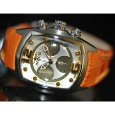 Invicta Women's Rare Lupah Chronograph Orange Genuine Leather Watch 6797