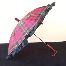 Umbrella Parasol Red Black Gold Plaid Ruffled Small Size Wood Handle Finial Vtg