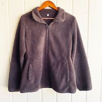 Uniqlo Women's Long Sleeve Fluffy Fleece Full Zip Brown Pockets Jacket SZ L