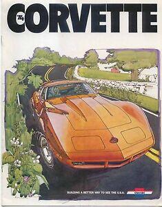 Chevrolet Corvette Coupe Convertible 1973-74 Original USA Sales Brochure No 2675