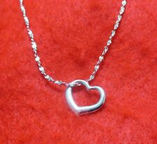 14KT WHITE GOLD EP 20 INCH 1MM TWISTED NUGGET CHAIN NECKLACE W/ FLOATING HEART