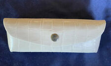 TOMMY BAHAMA Ivory faux Crocodile Embossed Leather Eyeglasses Sunglasses Case