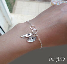 Sterling Silver Infinity Charm Bracelet.  Initial Hand Stamped Feather and Leaf
