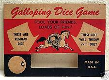 Old Crisloid Top Grade Galloping Dice Game Display Card