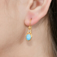 Incredible Turquoise & Aquamarine Vermeil 14K Gold Over Sterling Silver Earring