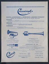 Ancienne publicité CICCASIMPLEX Avertisseur CICCA Paris Levallois