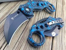 BLUE SKULL ZOMBIE Spring Assisted Tactical Karambit Combat Folding Open Switch