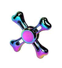 Rainbow Regenbogen Fidget Hand Finger Spinner Metall Metal Bones Viereck Neu