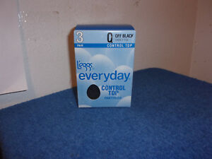 NEW LEGGS EVERYDAY  CONTROL TOP SHEER TOE 3 PACK of  OFF BLACK COLOR PANTYHOSE