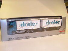 """Herpa 916257 Volvo FH 4 GL Wechselkoffer-Hängerzug """" Dreier ( CH ) """" NEU + OVP"""