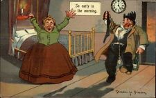 Drunk Comes Home at 5AM to Angry Wife - Donadini c1910 Postcard