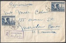 Lithuania Judaica 1940 US REGISTERED RASEINIAI TO MERIDEN CONN