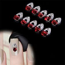 10PCS Luxury 3D Red Rhinestone Crystal Alloy DIY Decor Tips Nail Art Stickers