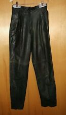 Black Leather Pants Size 9/10 Pleated Front Comint Slash Pockets Lined Argentina