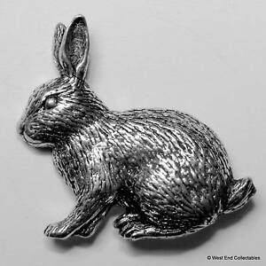 Pet Rabbit Gift Present ~ Rabbit Pewter Pin Brooch - British Hand Crafted- Bunny
