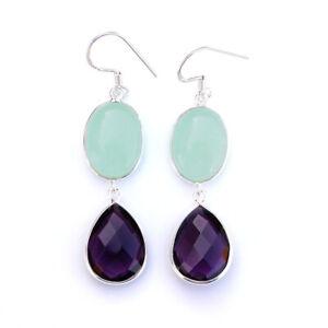 Aqua Chalcedony Purple Amethyst New Arrival 925 Sterling Silver Birthday Earring