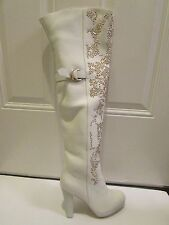 9 Thomas Wylde RUNWAY Over the Knee Gold Studded Boots White Leather NWOB  $3K