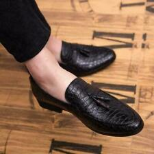 Mens Alligator Shoes Tassels Dress Formal Slip On Loafers NightClub Leather Size