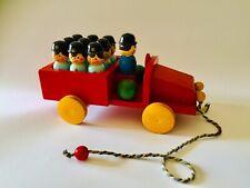 🔴 Grande treno pompieri con birilli Legno SEVI anni 50 giocattolo vintage