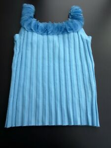 BELLDINI Sleeveless Top Med - LargeTurquoise  Flower Ruffle neckline w Sequins