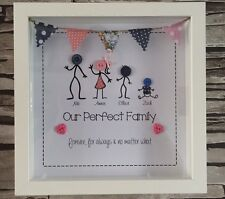 Personalised Stick Family Button Head Picture Frame Perfect Christmas Gift