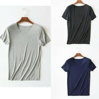 Men Ribbed T-shirt Light Thin Short Sleeve Solid Vest V-Neck Casual Tops Outwear