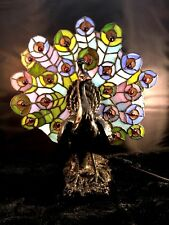 Tiffany Style Resin Peacock Multi-Colored Stained Glass Fan Tail Table Lamp