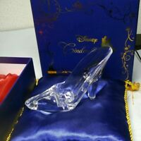 Disney Cinderella Acrylic Glass Slipper Blue Cushion Set Clear Plastic Japan F/S