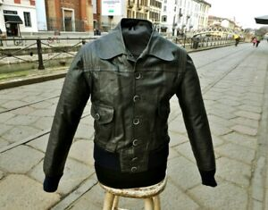 Giubbotto giacca pelle nero bomberino fonzie anni 70 vintage XS uomo