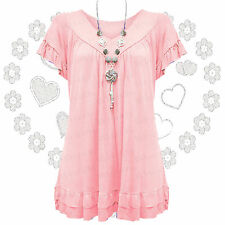 New Womens Plus Size Gypsy Tops Frill Necklace Ladies Tunic Short Sleeve 12-30